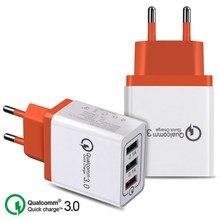 Carregador rápido de usb de 18 w 3.0 5v 3a, carregador para iphone 7 8 eu eua plug de celular carregamento para carregador de energia ac samsung huawei