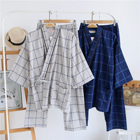 Traditioal Japanese Pajamas Sets Men Yukata Simple Kimono Cotton Male Loose Japan Home Clothing Sleepwear Bathrobe Leisure Wear