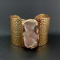 B051616 22MMx38MM White Keshi Pearl 24 K Golden Plated Bangle Bracelet