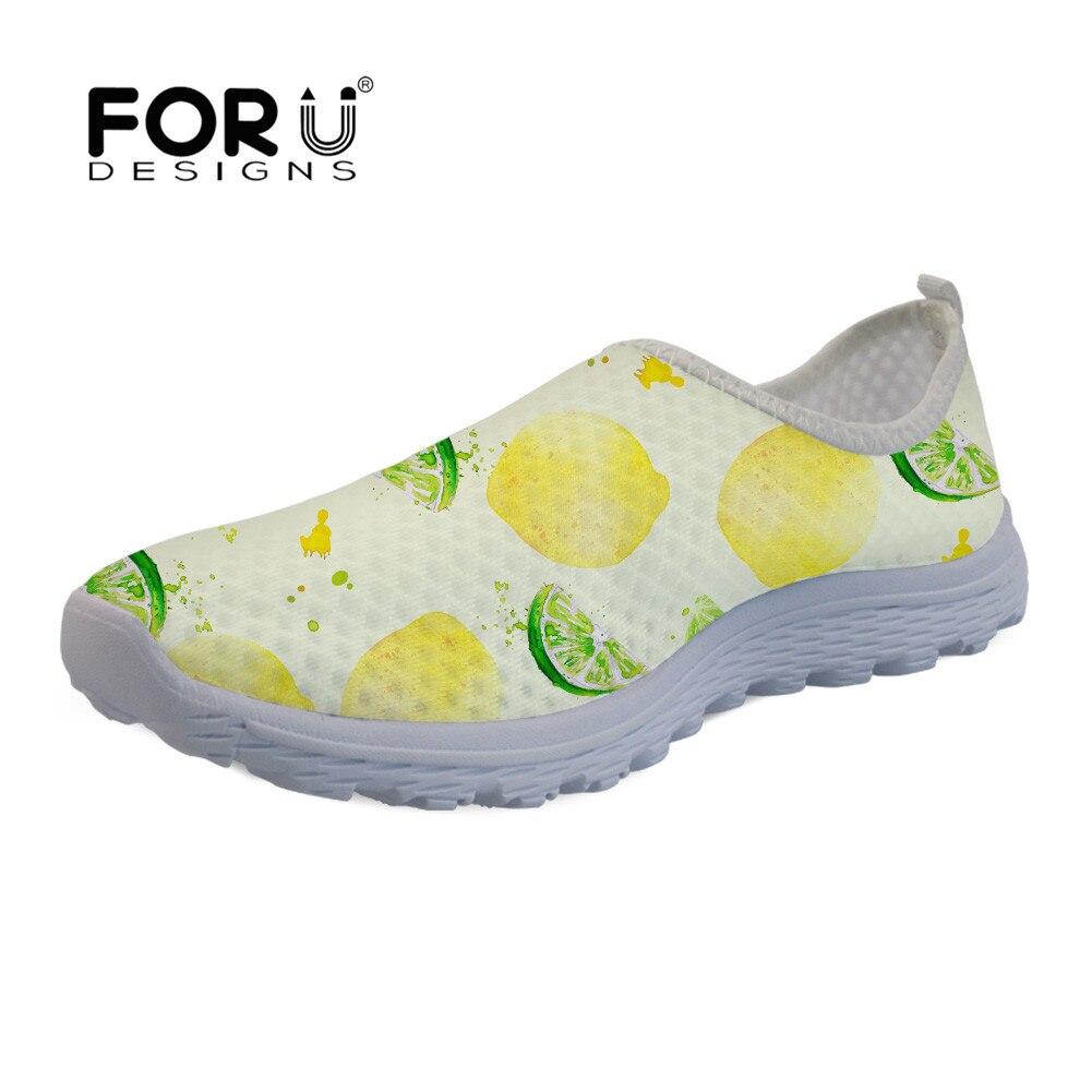 FORUDESIGNS Women Flat Sandals Fresh Lemon Print Sneakers Comfortable Light  Slip On Female Casual Loafers Ladies Fashion Shoes 9d7d488cd854