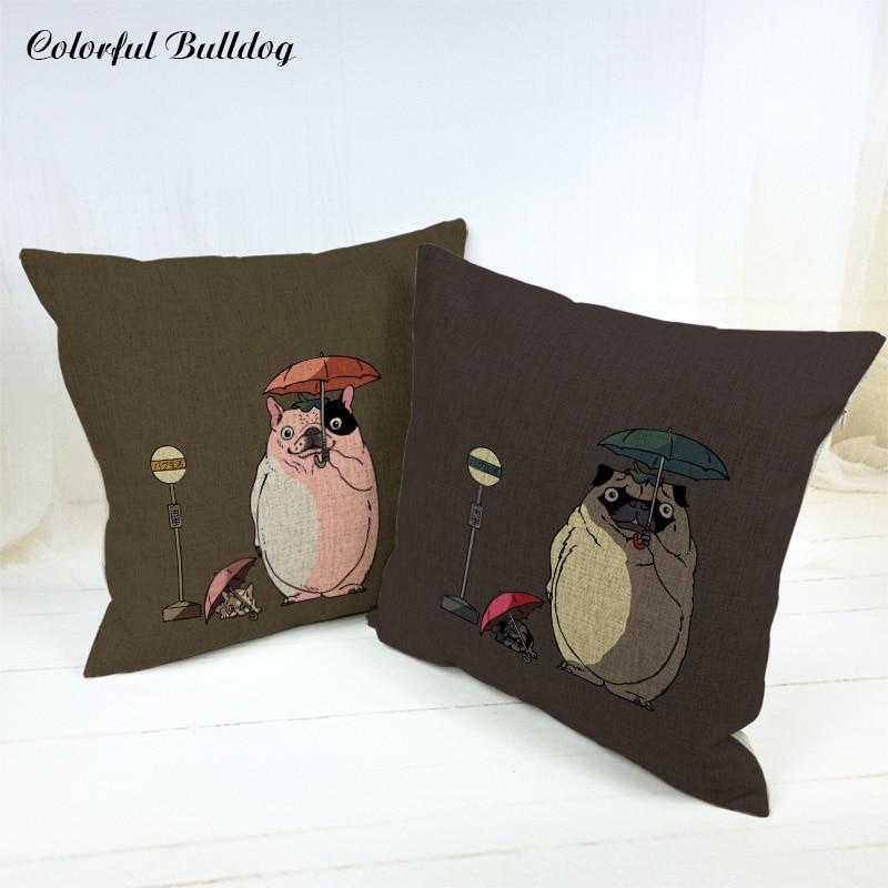 Throw Pillowcase Cartoon Animal Bulldog Pug Dog Sloth Imitate Cute Characters Home Car Seat Decor 45*45cm Square Cushion Cover