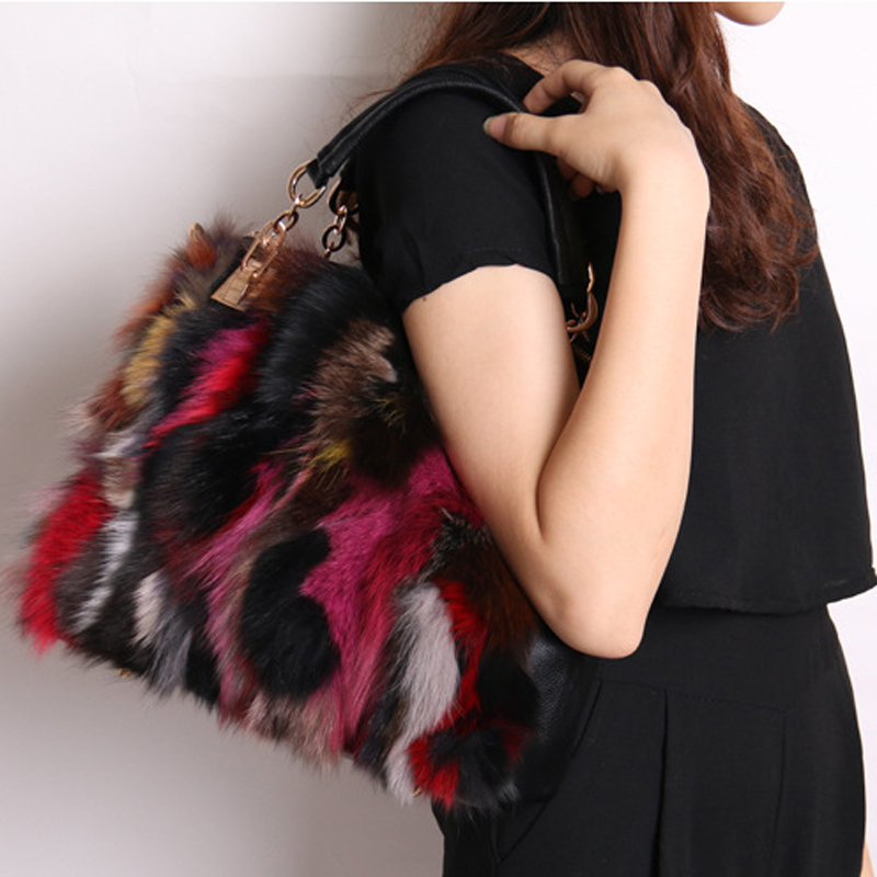 2018 Luxury Fox Fur Women Mink Fur Bag Colorful Fox Fur Shoulder Bag Ladies PU Leather Fur Tote Handbag Crossbody Bags 775 grey plain ripped details one shoulder playsuits with belt