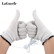 1 пара дышащих волоконных электротерапевтических электрод для массажера перчатки с кабелем электродные машины электродные перчатки для Tens Mechines