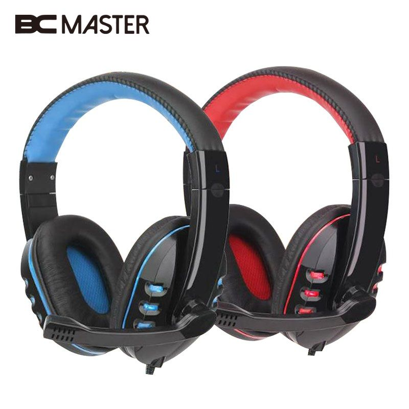 BCMaster 3.5mm Wired Stereo Gaming headphones Earphone w/Mic For PC Laptop Gamer oyk wired double side headband stereo headphones w mic for gaming pc red black 3 5mm plug