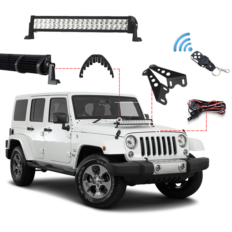 RACBOX 3D 120W 22inch Offroad LED Work Light Bar Combo Beam + Light Bar Mount + Remote Control Switch For JEEP Wrangler JK 07-15