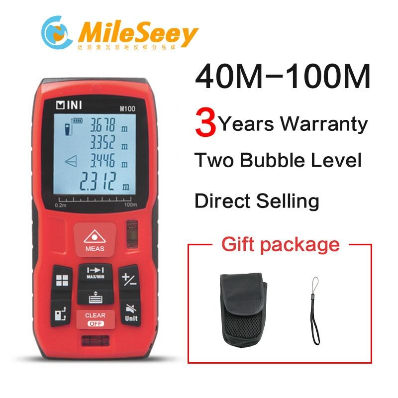Mileseey Mini Digital laser distance Meter trena laser misura di Nastro strumento tester 100M-80M--60M-40M Distanziometro Laser Telemetro