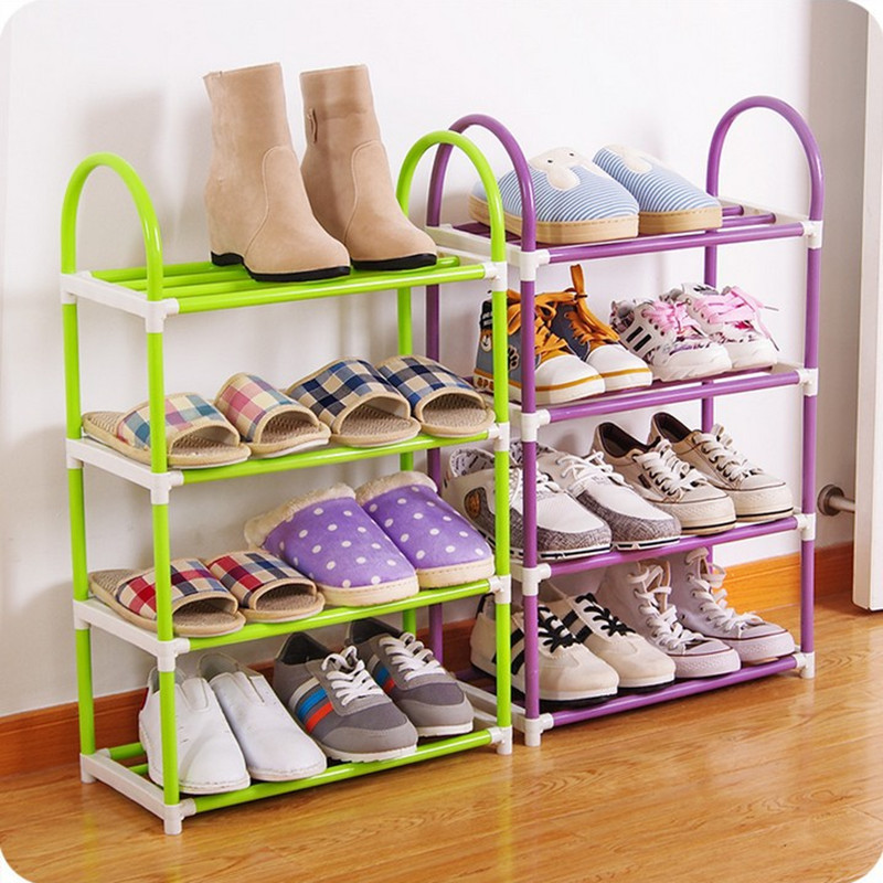 4 colors 4 layers Shoe Rack Plastic parts Steel Pipe Shoes Shelf Easy Assembled Storage Organizer Stand Living Room Furniture shoes shelf easy assembled light plastic multilayer shoe rack storage organizer stand holder living room furniture shoe cabinet
