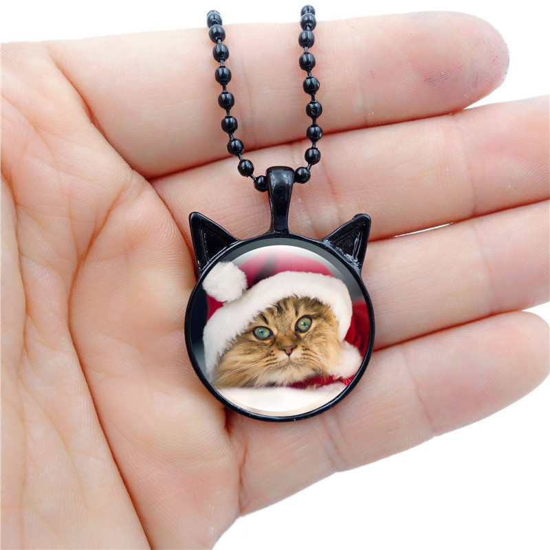 10PCS Christmas Cat YY Jumps Time Gem Necklace Pendant YY Egg Cat Ear Glass Charm Gift For Women Jewelry