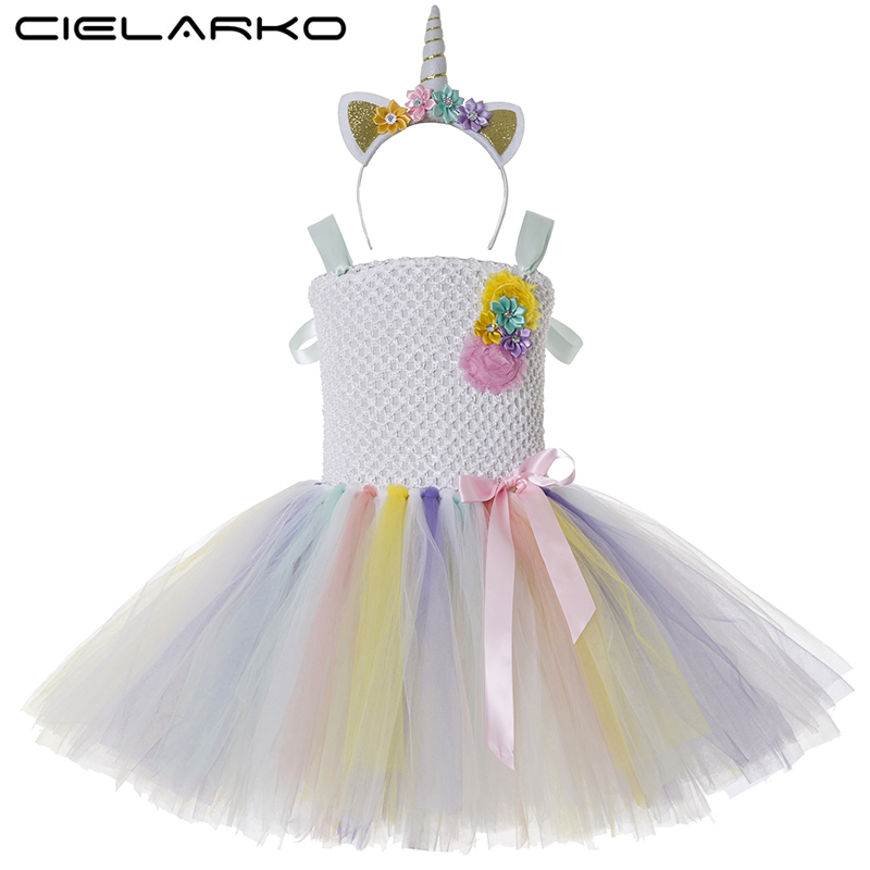 Baby Girl Tutu Dress Little Pony Unicorn Dress Headband Christmas Halloween Costume Children Girls Party Dresses 2-14 Years 1set baby girl polka dot headband romper tutu outfit party birthday costume 6 colors