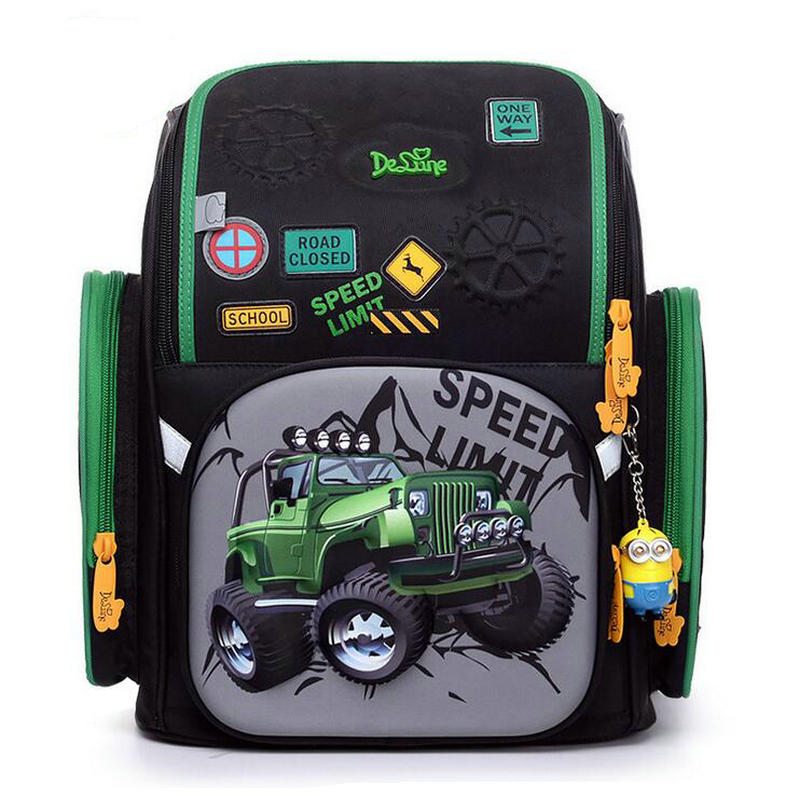 Russian brand Delune Upscale Schoolbag 3D Car Children Waterproof Orthopedic Backpack Schoolbag Primary high quality bag high quality famous brand upscale 100