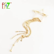 2016 New Top Fashion Novel Gold Silver Rose Gold Hollow Star Tassel Hair Clips Jewelry For Women Accessories pinzas de pelo