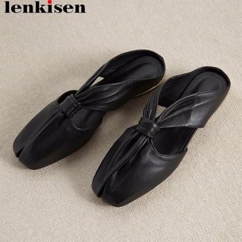 Lenkisen elegant lady handmade luxury sheep leather square toe slip on mules outside art design bow-knot classic slippers L19