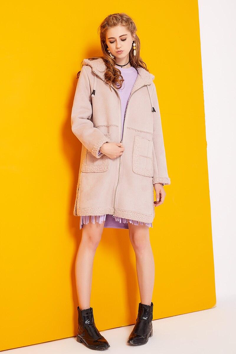 2017 Winter Lamb Wool Cotton Jacket Women Suede Leather Coats Long Trench Coats Female Windbreakers LadiesCoat