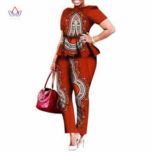 2019 Legging Sets for Women Custom Brand Two Pieces Sets African Bazin Riche Clothes for Women Two Piece Pants Set African WY520