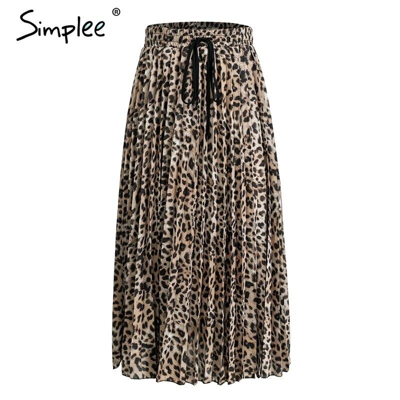 Simplee Vintage leopard print pleated skirts women punk rock korean skirt streetwear Drawstring elastic waist ladies midi skirt 4