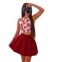Kadın Iki Parçalı Yaz Elbise Dudak Baskı Kırmızı Dudak Baskı Plaj Kolsuz Rahat Elbiseler Parti Kısa Mini Elbise Kadın Giyim