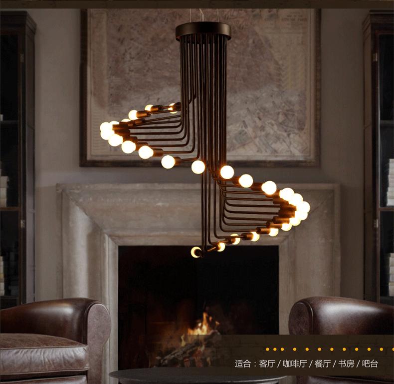 americana vintage negro de hierro forjado colgante espiral lmpara de techo para restaruant dinning room bar