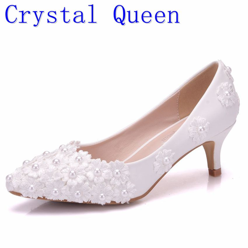 Crystal Queen White Beading Flowers High Heels Wedding Shoes 5CM Heels Bridal Pumps Shoes Women Shoes Party And Evening Shoes women s fashion gold lace dinner evening party pumps shoes plus sizes low high heels custom made bridal wedding shoes