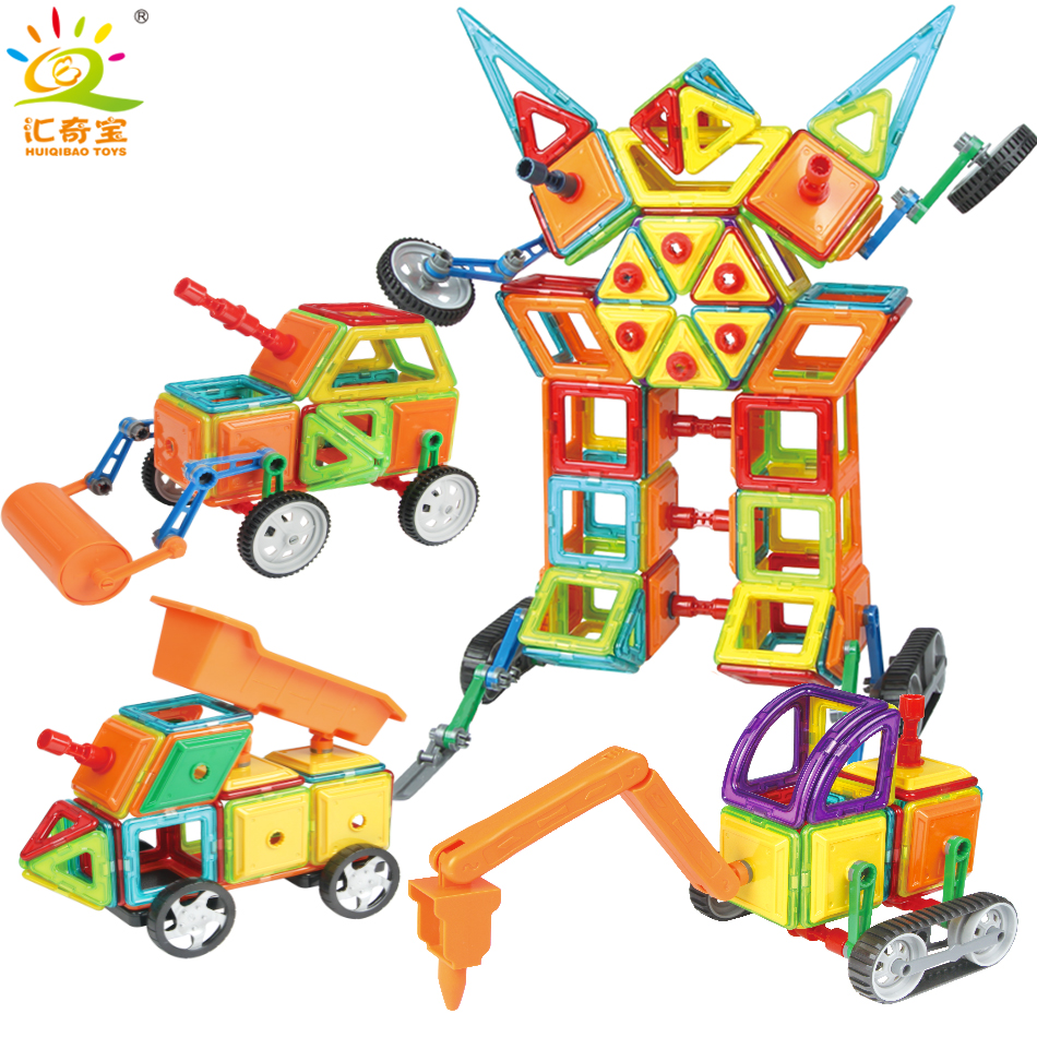 75+PCS DIY Engineering Vehicle 3D Model Magnetic Blocks Bricks Set Enlighten Building Construction Magnet Toys For Children Kids enlighten building blocks military submarine model building blocks 382 pcs diy bricks educational playmobil toys for children