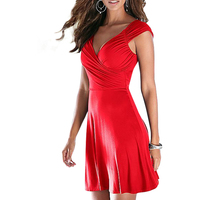 Fashion Women Short mini Dress Sleeveless V Neck Sexy Slim Party Dress Pleated Empire Waist A Line beach Dress LJ4865M