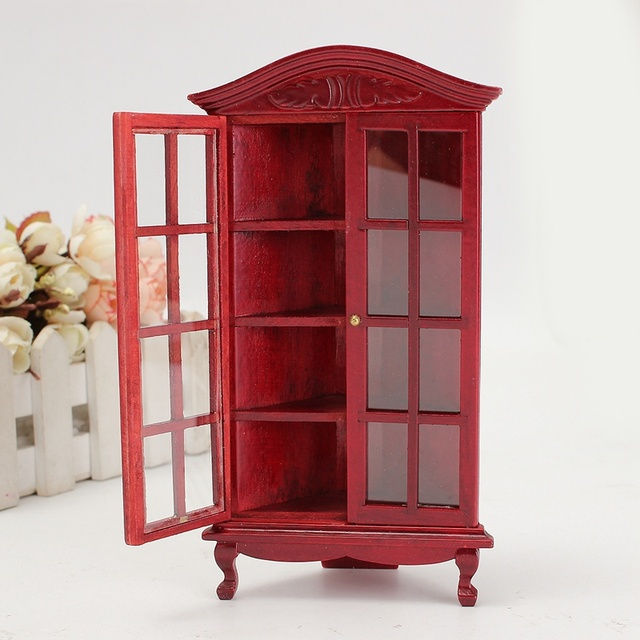 Decoratie Voor Vitrinekast.1 12 Poppenhuis Miniatuur Beeldjes Meubels Hout Wit Vitrinekast