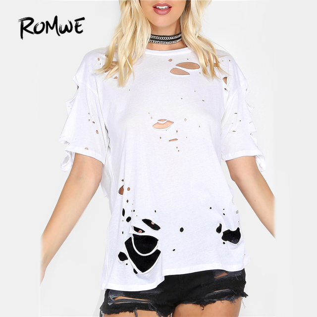 ce06ff7eba87 ROMWE Distressed White Punk T-Shirt Sexy Tee O Neck Cut Out Women Cotton  Tops Summer Fashion New Plain Stretchable T-Shirt