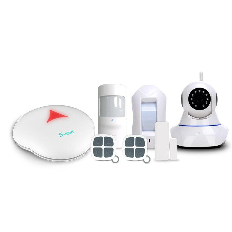 433 mhz smart home Wifi/PSTN système d'alarme mise à niveau en ligne menu multi-langues travail avec caméras IP système d'alarme Wifi