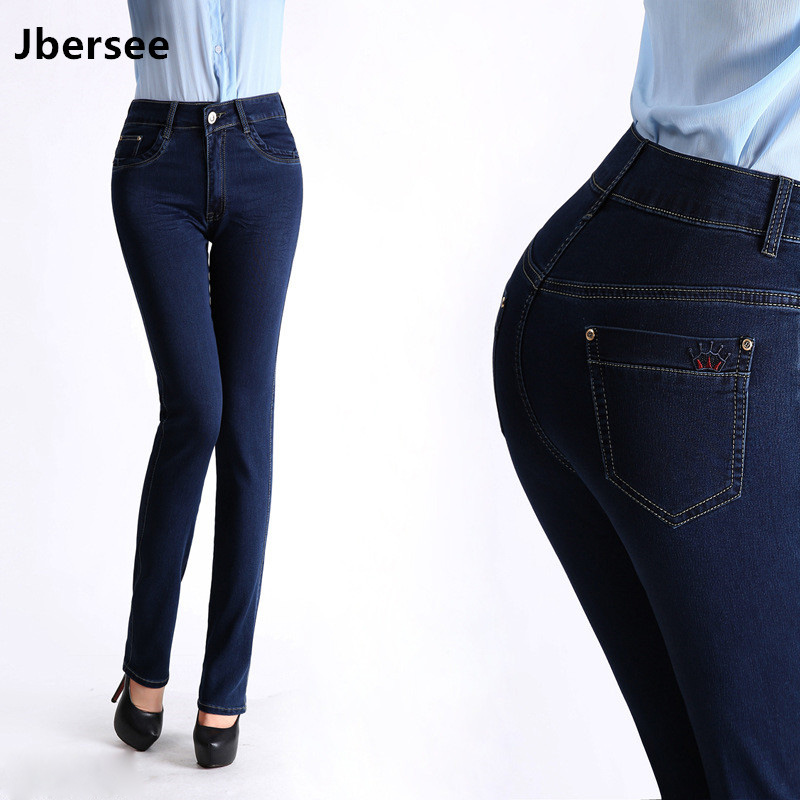 Jbersee Large Size Jeans Autumn New High Waist Jeans Slim Stretch Trousers Straight Pants Casual Woman Jeans Women's Trousers