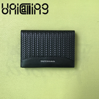 UniCalling weave cow leather men Card holder Fashion name id card holder Genuine Leather small credit card holder