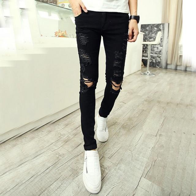 d18981dc5f2 Brand new man ripped jeans non mainstream fashion slim pants pants men s  ragged beggar