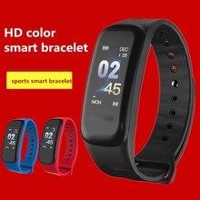 ZoneQuality c1 tela inteligente Pulseira cor IP67 rastreador de fitness heart rate monitor de pressão arterial inteligente Pulseira para Android IOS