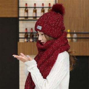 Image 3 - Chapeaux en velours pour femme avec écharpe, bonnet en laine, chaude, couvre oreilles, tricoté, mignon, ensemble de 2, hiver 2019