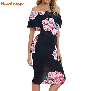 Floral Print Off Shoulder Backless Bodycon Dress Fashion