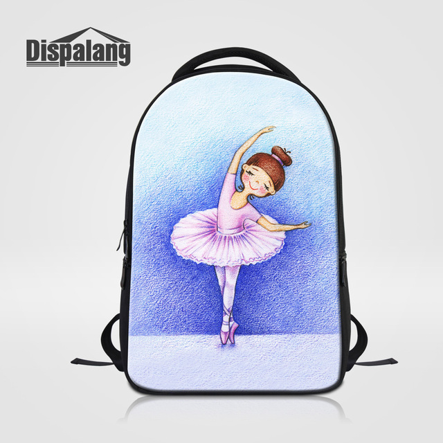 Dispalang 3D Ballet Girl Printing School Backpack Women's Fashion Travel Shoulder Bags Mochilas Mujer Female Laptop Bag Rucksack