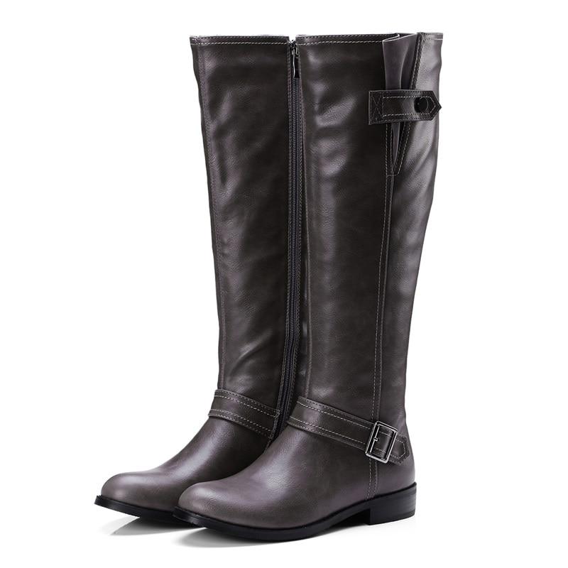 Plus koko 34-43 pu nahka kengät nainen saappaat solki zip neliön - Naisten kengät - Valokuva 3