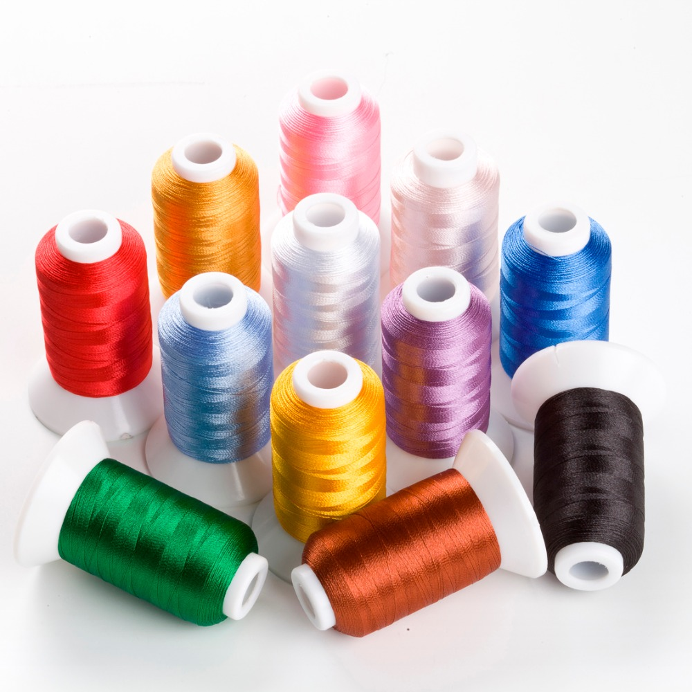 New Brother  Colors Series  Computer Embroidery Thread Filament Trilobal Polyester 500m*12 ,120d/2 Super Sheen , High Strength