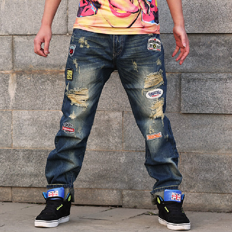 2016 men's jeans straight casual jeans men loose cozy ripped men jeans new fashion cotton jeans Plus Size 28-44