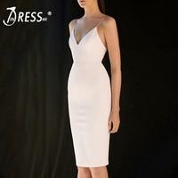 INDRESSME Women Dress Sexy Spaghetti Strap Deep V Neck Zipper Knee Length Bodycon Dress Party White Dress 2018 New Vestidos