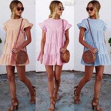 Solid Casual Mini Dress Sexy O-Neck Short Sleeve Ruffle Buttons Women 2019 New Summer Dresses Cotton Dress Female Vestidos #N