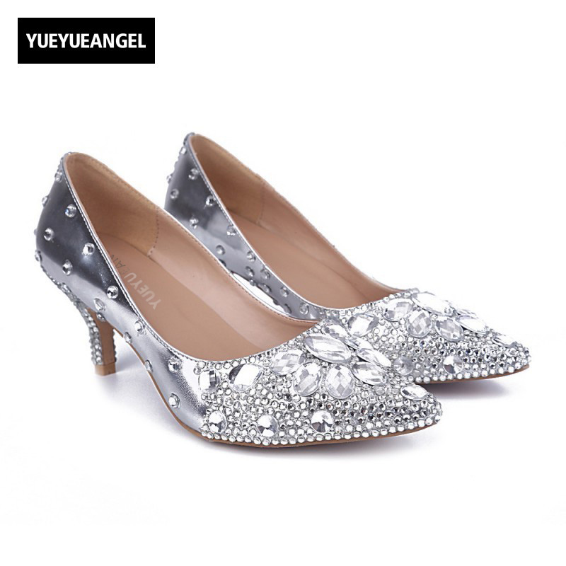 New Arrival Hot Sale Women High Heel Shoes Slip On Pointed Toe Lady Fashion Crystal Shoes For Women Dress Wedding Pumps Silver 2017 new fashion spring ladies pointed toe shoes woman flats crystal diamond silver wedding shoes for bridal plus size hot sale