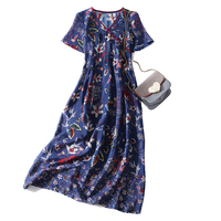 New 100 Real Silk Woman Blue Dress Casual Style V Neck Botton Woman Gown Short Sleeve