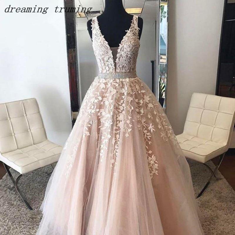 Arabic Blush Pink Prom Dresses 2019 With Flora Appliques Tulle Backless Elegant Formal Evening Dress Abendkleider Real Photo