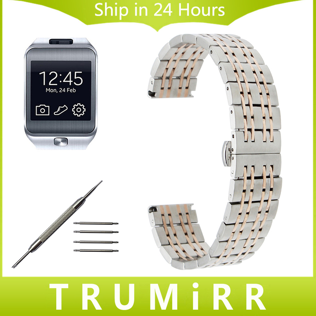 22mm de aço inoxidável watch band para samsung gear 2 r380 r381 r382 moto 360 2 46mm butterfly fivela correia dos homens da correia de pulso pulseira