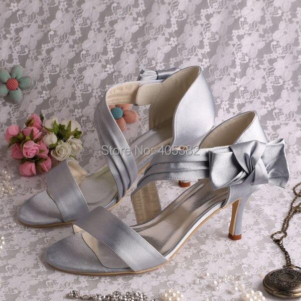 ФОТО Wedopus Custom Handmade Grey Satin Summer Sandals Brand High Heels Party