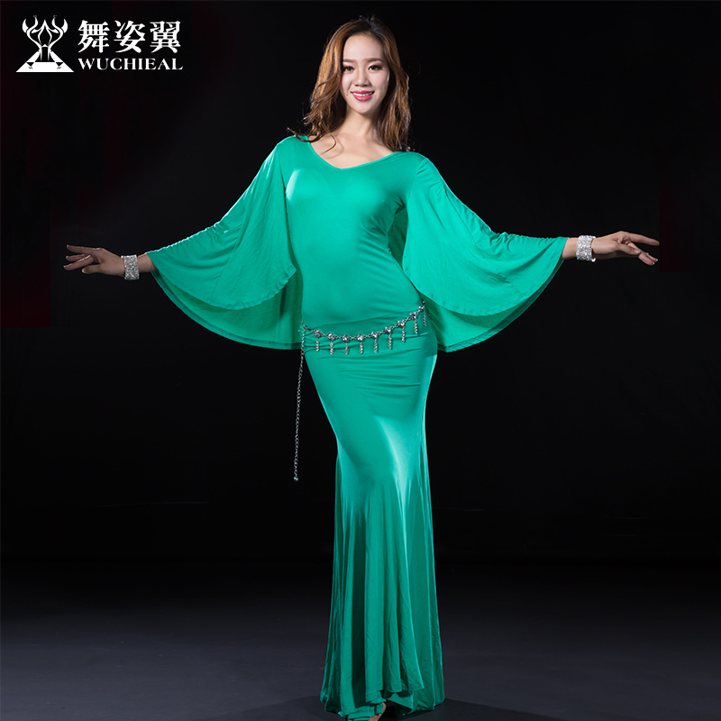 Belly Dance Costumes Real Cotton Belly Dance Skirt Wuchieal Brand 2018 New Women Costumes Dress For Oriental Qc2632