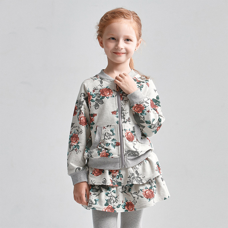 Baby Girls Outfit Sport Fitness Suit Costumes Sets Grey White Floral Outfit for Teens Age 3456789 10 11 12 13 14T Years Old Kids 2017 autumn girls blouse ruffle hem flare sleeves blue striped letter design for teens at age 56789 10 11 12 13 14t years old
