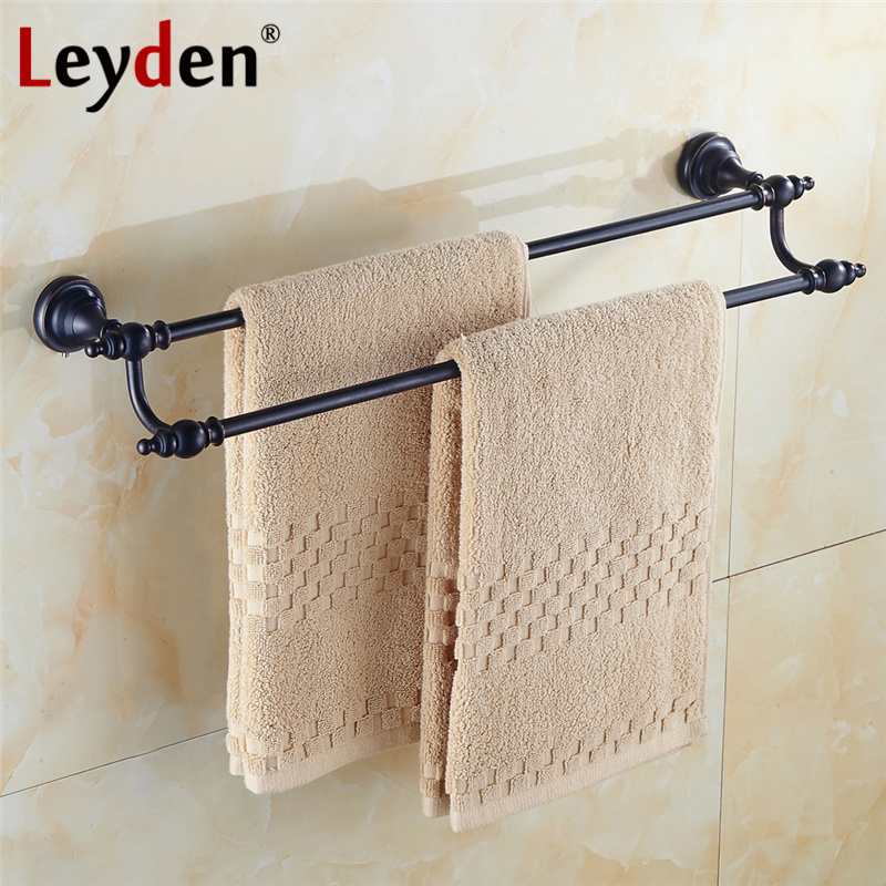 Leyden Oil Rubbed Bronze Solid Brass Double Towel Bar ORB Classical Towel Rack Wall Mounted Towel Bar Holders Bathroom Hardware classic black oil rubbed brass wall mounted bathroom towel rack shelf rails double bar wba120