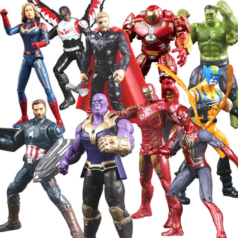 Avenger Infinity War Thanos Iron Spider Figure Spiderman Hulk Black Panther Iron Man Action Figure Toys For Children 15-18CM