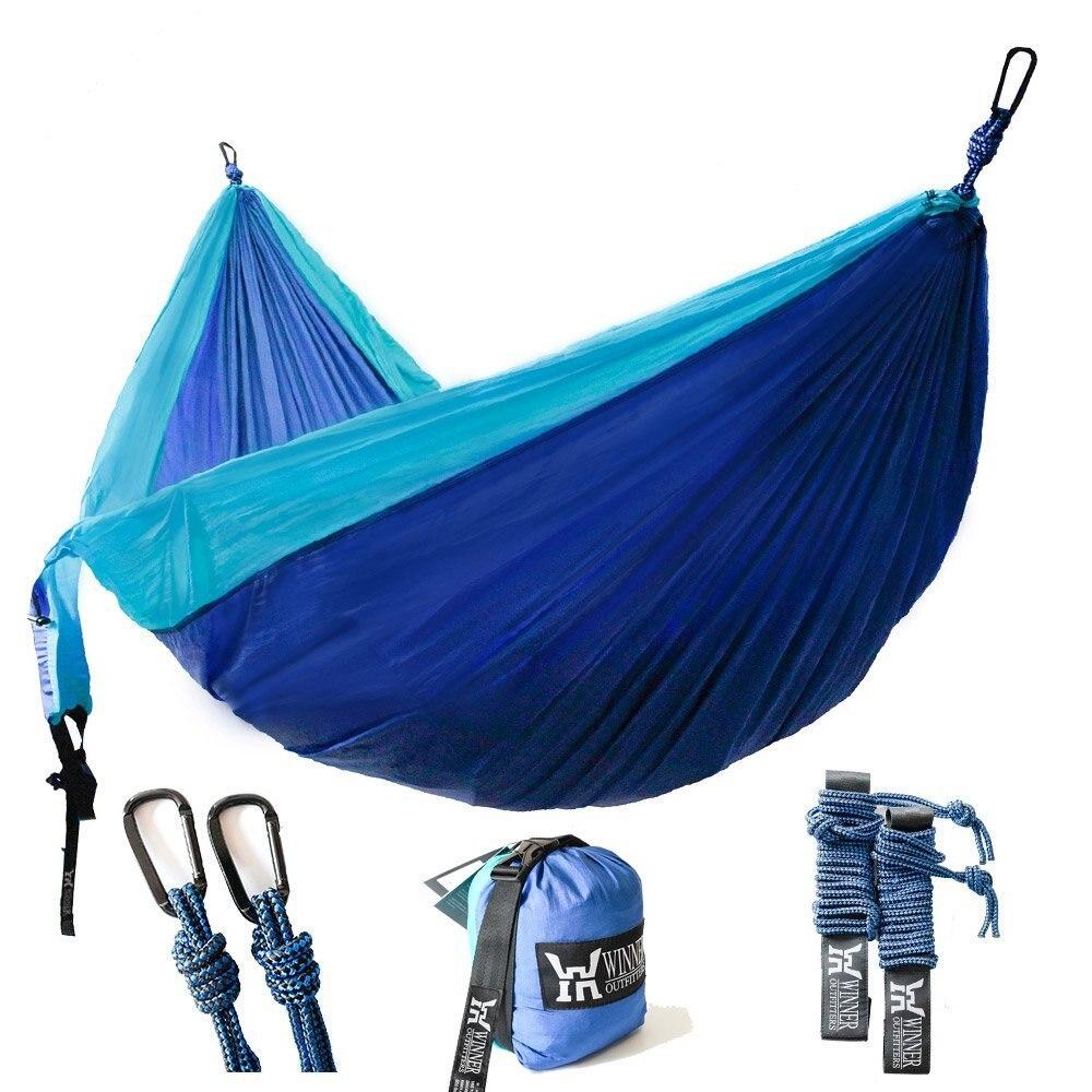 Double Camping Hammock Lightweight Nylon Portable Camping Hammock Parachute Double Hammock For Backpacking Travel
