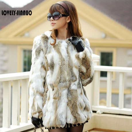 EMS Free Shipping Genuine Natural Rabbit Fur Coat Winter Long Thick Coat Fur Jacket Women Rabbit